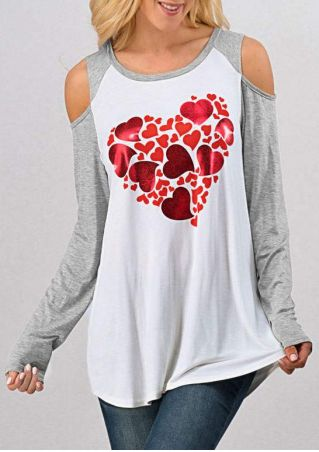 Heart O-Neck Cold Shoulder Blouse