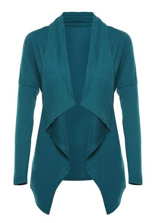 Solid Asymmetric Long Sleeve Cardigan
