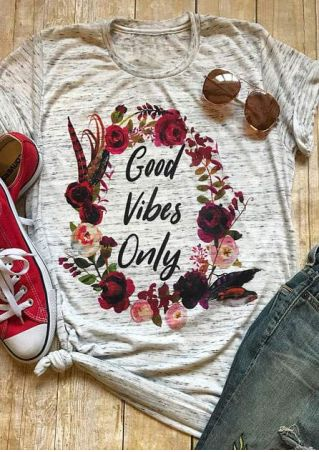 Good Vibes Only Floral T-Shirt