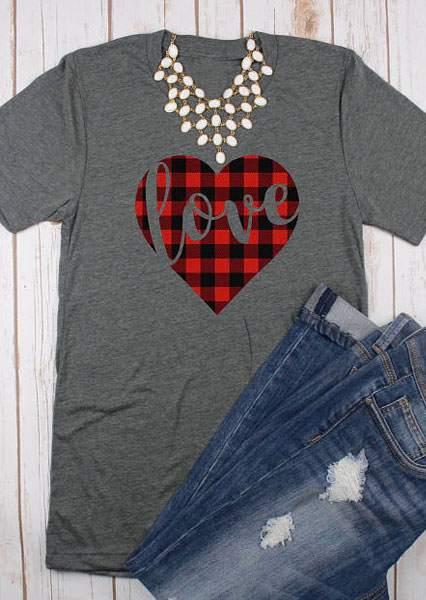 Love Plaid Heart O Neck T Shirt Bellelily
