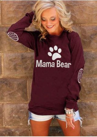 Mama Bear Paw Printed Elbow Patch Printed T-Shirt