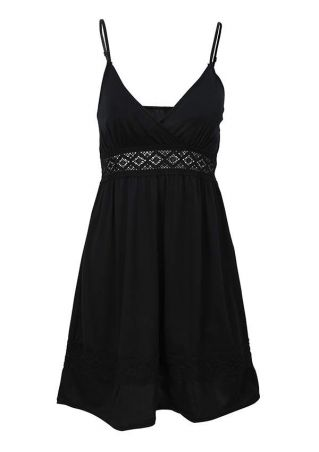 Solid Lace Spaghetti Strap Mini Dress