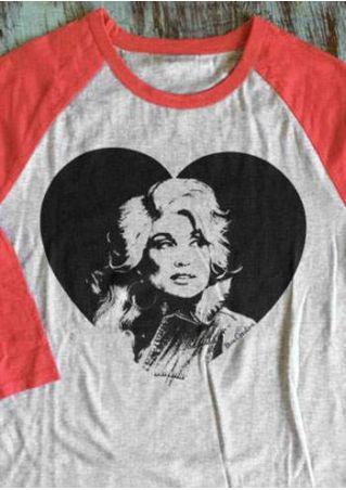 I Heart Dolly O-Neck Baseball T-Shirt