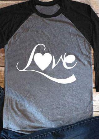 Love Heart O-Neck Baseball T-Shirt