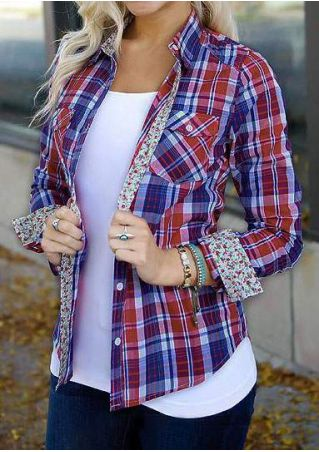Plaid Button Pocket Long Sleeve Shirt