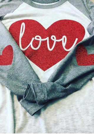 Love Heart Elbow Patch Printed Baseball T-Shirt