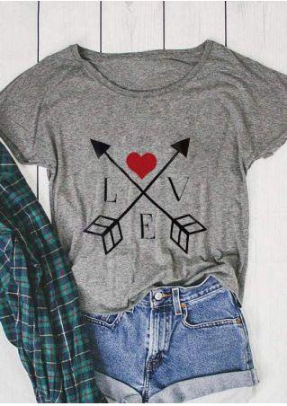 Love Arrow Heart Batwing Sleeve T-Shirt
