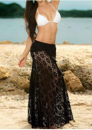 Solid Lace Splicing Hollow Out Halter Cover Up