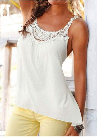 Solid Lace Splicing O-Neck Casual Tank