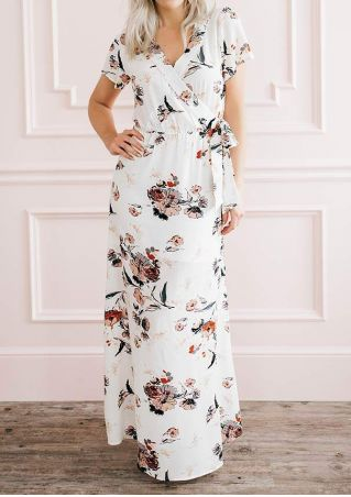 Floral Knot V-Neck Maxi Dress