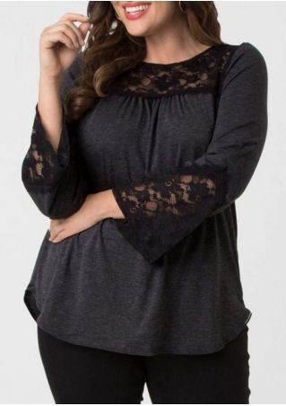 Plus Size Lace Floral Flare Sleeve Blouse