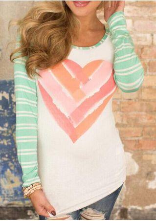 Heart Striped Long Sleeve Baseball T-Shirt