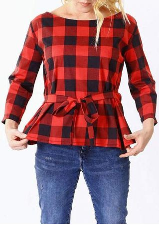 Plaid Tie Long Sleeve Blouse
