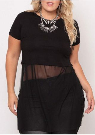 Plus Size Solid Mesh Splicing Blouse without Necklace