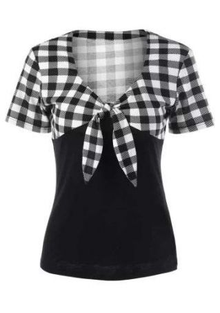 Plaid Splicing Bowknot V-Neck Blouse