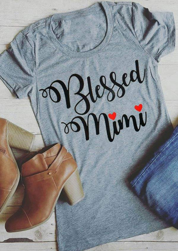 64000cf4 Blessed Mimi Heart Short Sleeve T-Shirt - Bellelily