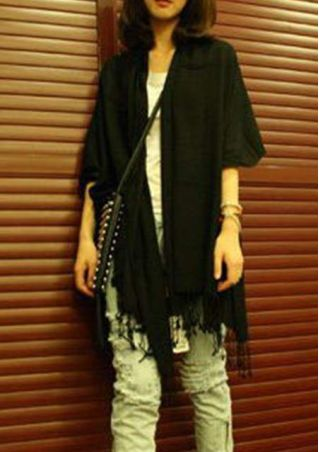 Solid Fringe Soft Warm Scarf