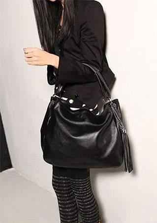 Solid Tassel Leather Shoulder Bag