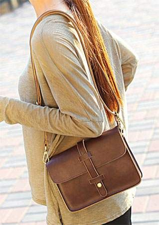Solid Leather Buckle Strap Bag
