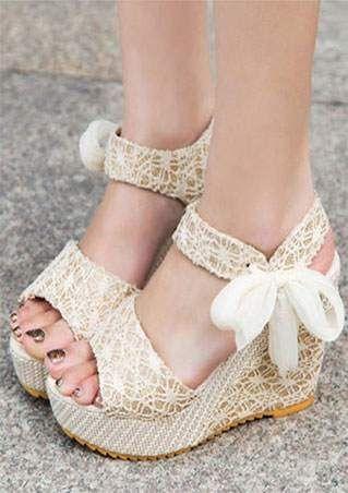 Tie Platform Wedge Sandals