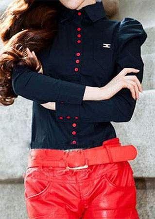 Splicing Button Long Sleeve Bodysuit