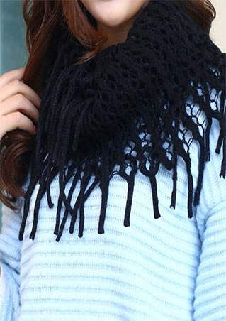 Solid Fringe Knitted Hollow Out Scarf