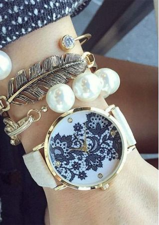 Floral Alloy Leather Strap Watch