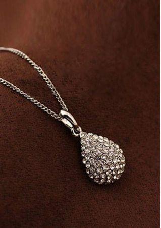 Shiny Waterdrop Rhinestone Crystal Necklace