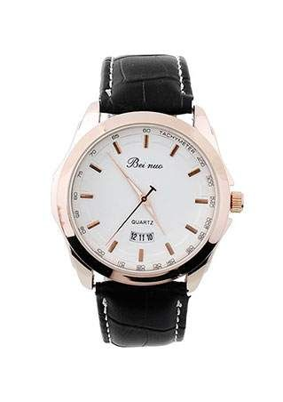 Stainless Leather Quartz Wrist Watch