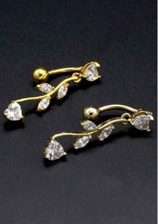 Leaves Diamond Navel Nail