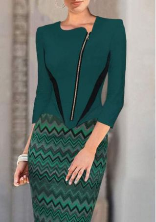 Zip Splicing Bodycon Slim Fitting Dress
