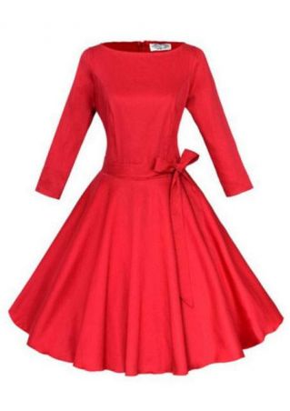 A-Line Crewneck Pleated Dress With Belt