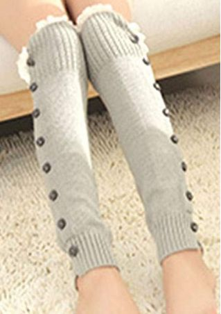 Knitted Button Lace Kee High Stockings