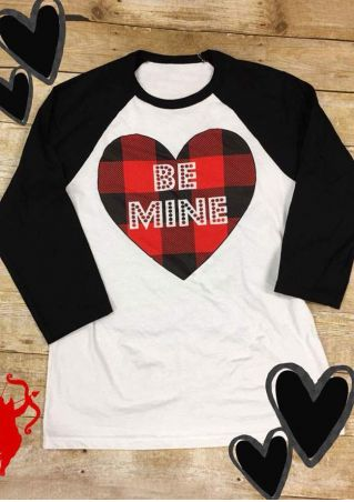 Be Mine Plaid Heart Baseball T-Shirt
