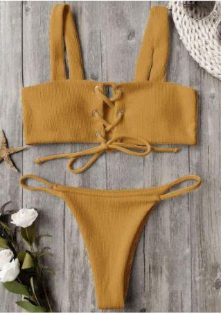 Solid Lace Up Bikini Set