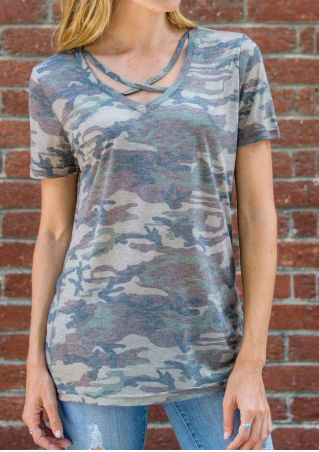Camouflage Printed Criss-Cross V-Neck T-Shirt