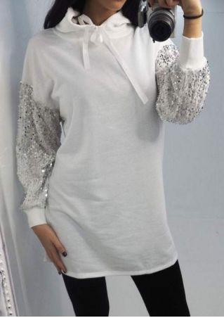 Sequined Drawstring Long Sleeve Hoodie