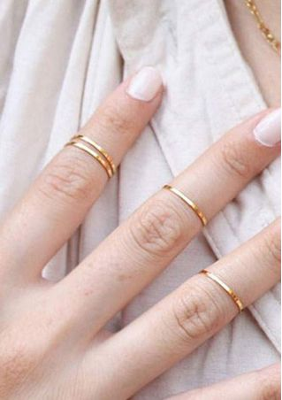5Pcs/Set Solid Stack Rings