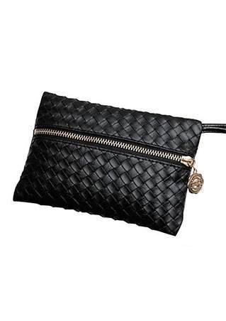 Solid PU Zipper Clutch Wallet