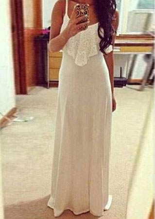 Solid Lace Flouncing Maxi Dress