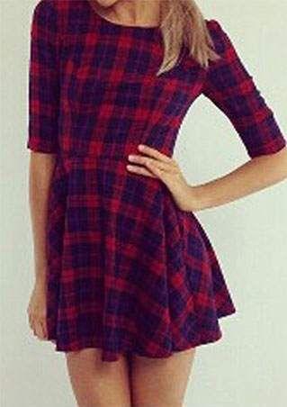 Plaid O-Neck A-Line Mini Dress