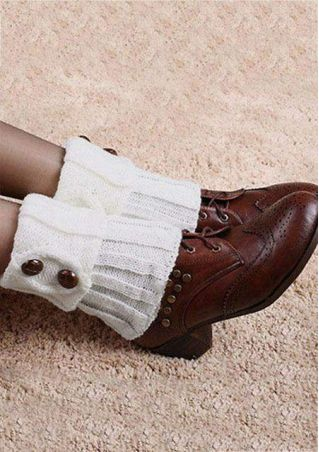 Knitted Button Leg Warmers Boot Cuffs