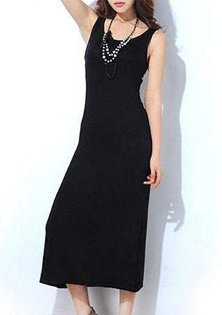 Solid Sleeveless O-Neck Maxi Dress
