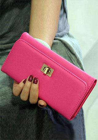 Solid PU Zipper Clutch Wallet