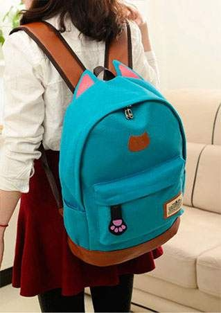 Splicing Canvas Zipper Backpack