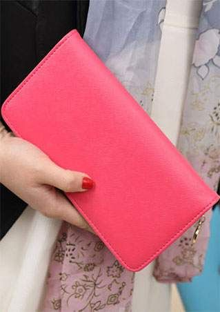 Solid PU Long Clutch Wallet