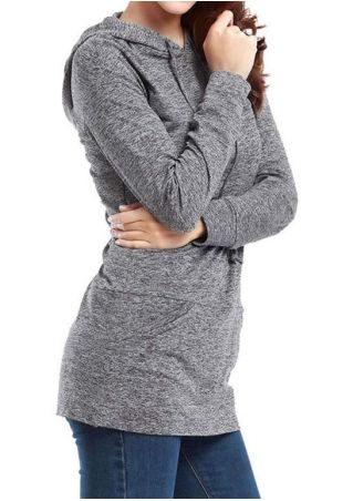 Solid Long Sleeve Pocket Casual Hoodie