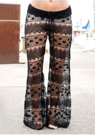 Solid Lace See-Through Elastic Waist Flare Pants