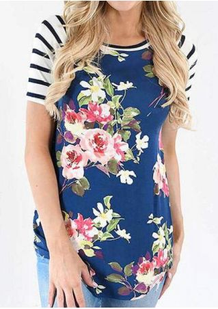 Floral Striped Splicing Baseball T-Shirt