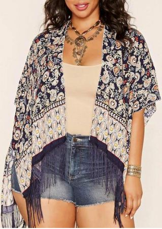 Printed Tassel Splicing Cardigan without Necklace